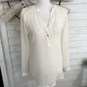 Ivory Collarless V Neck Chiffon Blouse